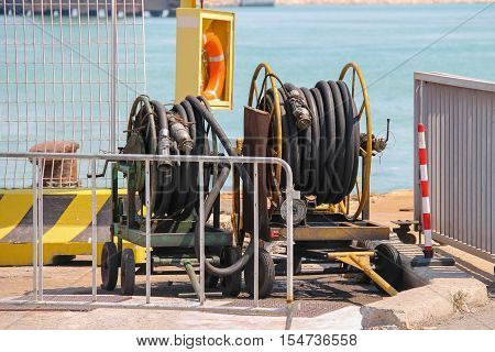 Dock equipment at the berth in Piombino seaport Italy