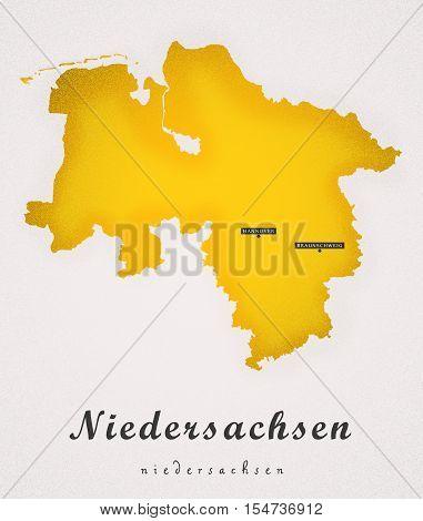 Niedersachen Germany DE Art Map colored illustration