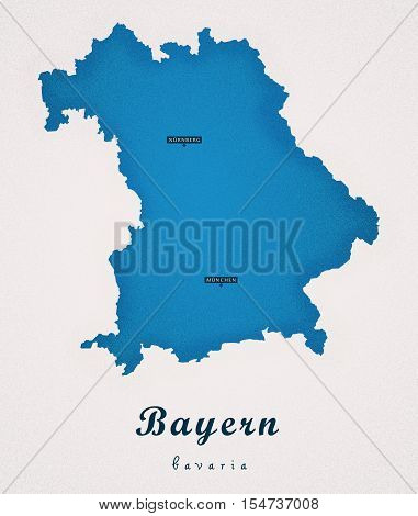Bayern Germany DE Art Map colored illustration