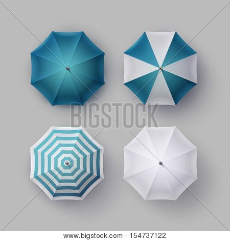 Vector Set of White Blue Striped Blank Classic Opened Round Rain Umbrella Parasol Sunshade Top View Mock up Close up Isolated on Background