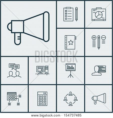 Set Of Project Management Icons On Schedule, Presentation And Reminder Topics. Editable Vector Illus