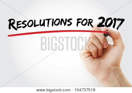 Hand Writing Resolution For 2017 With Marker