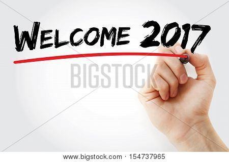 Hand Writing Welcome 2017 With Marker