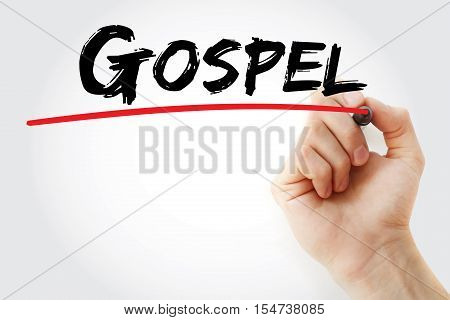 Hand Writing Gospel With Marker