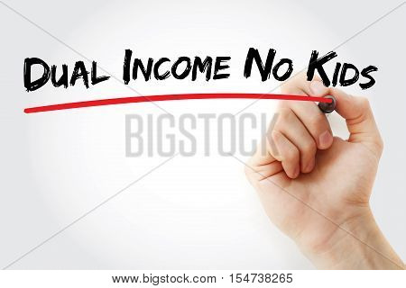 Hand Writing Dual Income No Kids With Marker