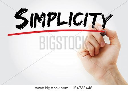 Hand writing Simplicity with marker concept background poster
