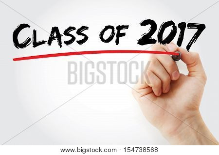 Hand Writing Class Of 2017 With Marker