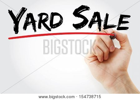 Hand Writing Yard Sale With Marker