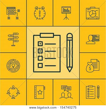 Set Of Project Management Icons On Discussion, Collaboration And Schedule Topics. Editable Vector Il