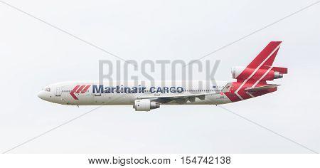 Leeuwarden, The Netherlands - June 11, 2016: Ph-mcu Martinair Holland Mcdonnell Douglas Md-11 During
