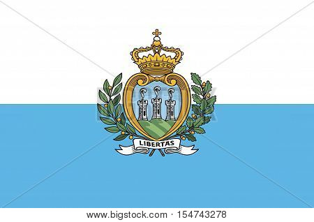 Flag of Republic San Marino also known as the Most Serene Republic of San Marino