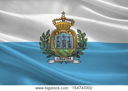 Flag of Republic San Marino also known as the Most Serene Republic of San Marino. 3d illustration