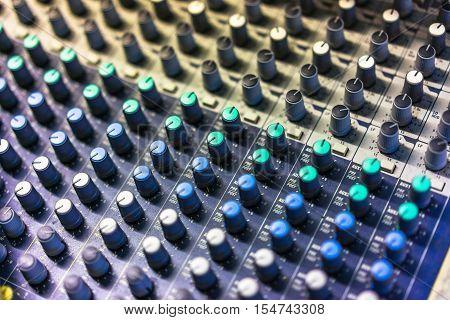 Full Frame Shot Of Sound recording equipment.