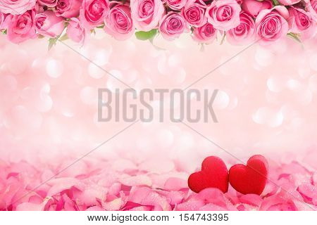 Abstract background border of Beautiful fresh sweet pink rose petal and red heart shape for love romantic valentine