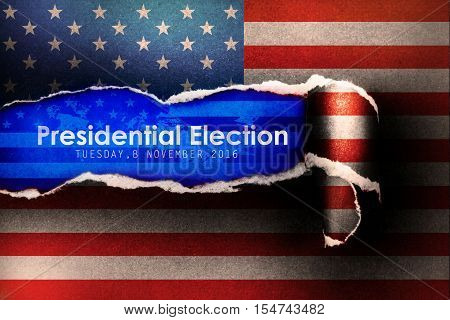 Presidential Election Vote 2016 in USA with flag Torn Paper Background