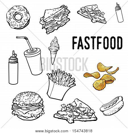 Set of black and white hand drawn fast food, sketch style vector illustration on white background. Pizza, burger, hot dog, sandwich, donut, ice cream, French fries outlines, coloring elements