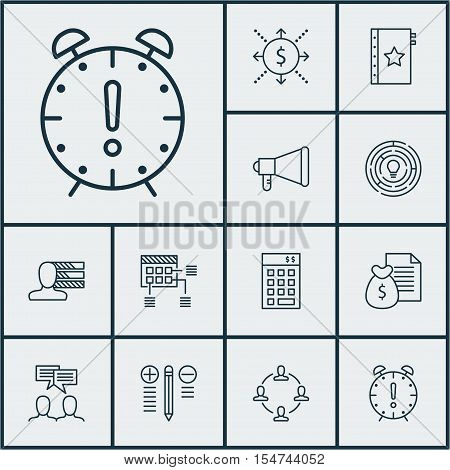 Set Of Project Management Icons On Time Management, Decision Making And Collaboration Topics. Editab