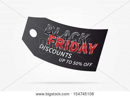 Black Friday with black price tag vector illustration on light grey background. Creative banner Black Friday Discounts Up To 50 percent Off layout for m-commerce mobile promotions