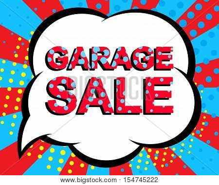 Sale poster with GARAGE SALE text. Advertising blue and red banner template. Pop art style