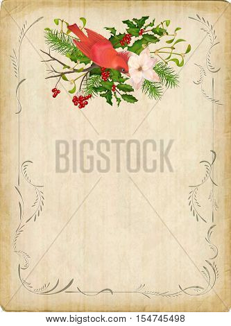 Vintage vector card with holiday composition of the Christmas decorations bird decorative border frame