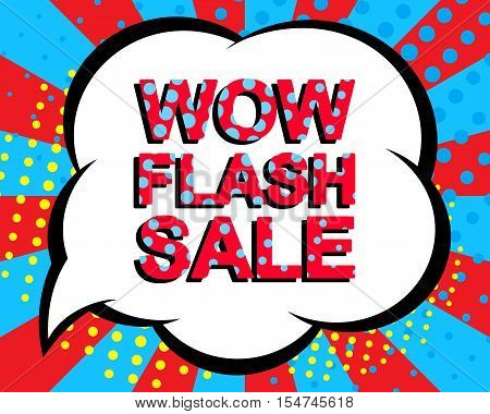 Sale poster with WOW FLASH SALE text. Advertising blue and red banner template. Pop art style