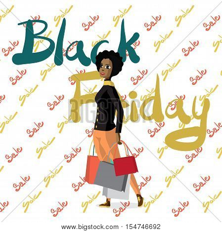 Black Friday sale design template. Black Friday banner with young woman running with a trolley. Vector flat cartoon illustration
