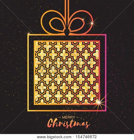 Christmas Greeting card. Gold glitter gift box with bow. Happy New Year on black background with symmetry ornament. Vector design illustration