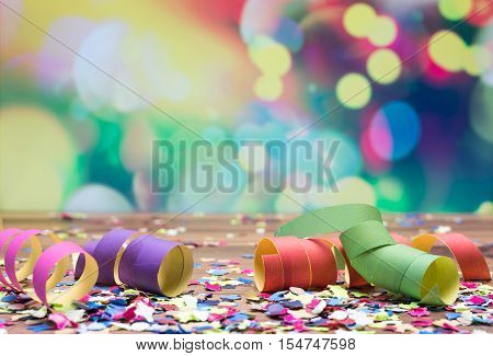Bright Colorful Confetti And Streamer