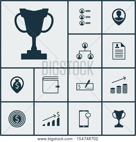 Set Of Hr Icons On Coins Growth, Employee Location And Bank Payment Topics. Editable Vector Illustra