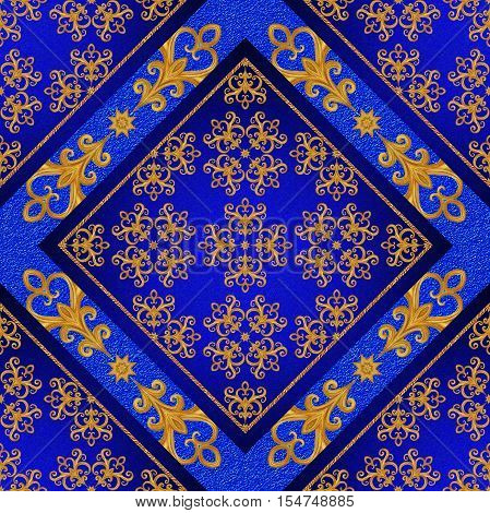 Pattern seamless. Golden crystals weaving arabesques. Gold arabesque oriental style abstract figure tiles mosaics. Sparkling decorative square frame. Dark blue background mural.