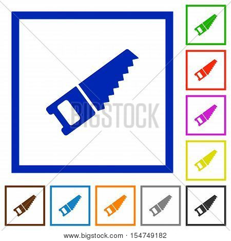Hand saw flat color icons in square frames