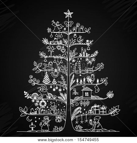 Cute vector illustration of a Christmas tree in retro style. Styling drawing chalk on a blackboard. The concept of the New Year holidays.
