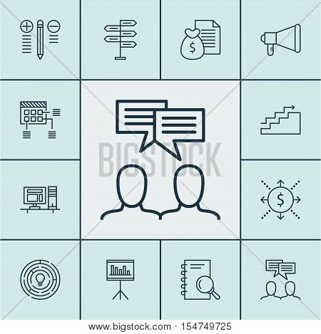 Set Of Project Management Icons On Presentation, Schedule And Announcement Topics. Editable Vector I