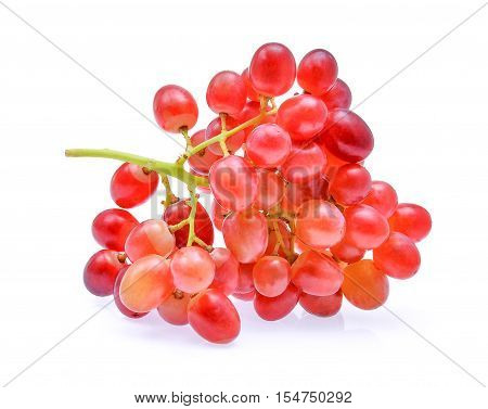 bunch red seedless crimson grape isolated on white