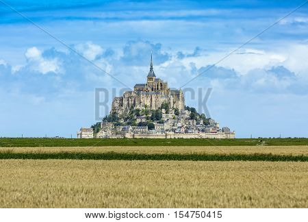 Image of Mont Saint Michel Monastery located in Normandy in North of France. This is one of the most visited sights from France.