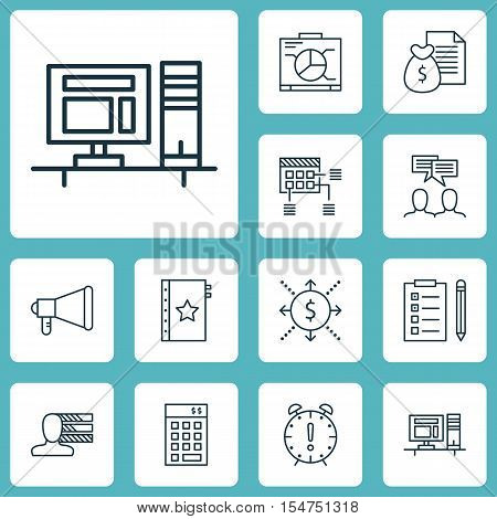 Set Of Project Management Icons On Money, Warranty And Reminder Topics. Editable Vector Illustration