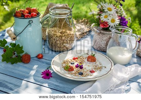 Oatmeal with fruit and milk on old table