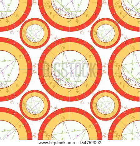 Seamless Pattern Natal Astrological Chart, Zodiac . Vector Illustration