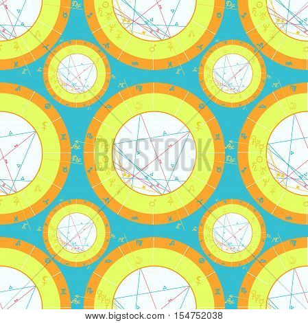 Seamless Pattern Natal Astrological Chart, Zodiac Signs On Blue. Vector Illustration