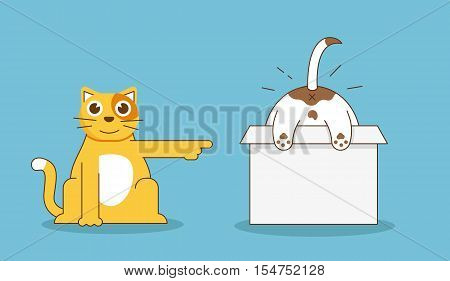 Funny relationship of cat and dog - flat linear illustration