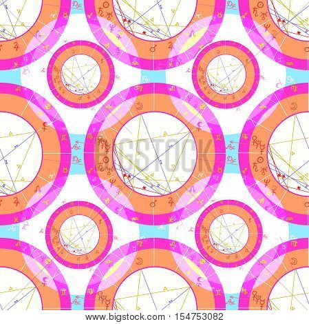 Seamless Pattern Pink Natal Astrological Chart, Zodiac Signs On Blue. Vector Illustration