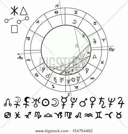 Coloring Of Natal Astrological Chart, Zodiac Signs. Vector Illustration