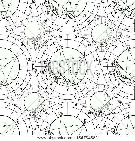 Seamless Pattern Coloring Of Natal Astrological Chart, Zodiac Signs. Vector Illustration