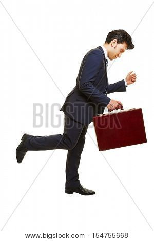 Side view of business man running with a briefcase