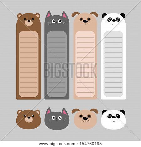 Animal head set. Cartoon kawaii baby bear cat dog panda. Bookmark paper sticker collection. Notepad template. Flat design. Gray background. Vector illustration