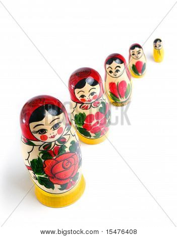 Matrioshka doll on white