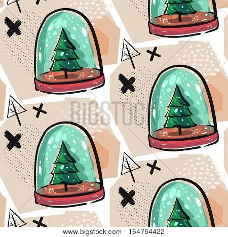 Hand drawn vector seamless Christmas decoration pattern with colorful snow globe illustration with Christmas trees, snow, crosses and geometric abstract elements.Christmas decoration background.