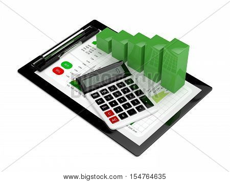 3D Rendering Of Chart Growth With Calculator And Clipboard