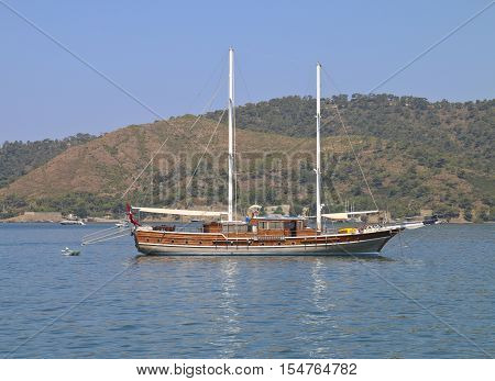 Photographed in Turkey near the town of Fethiye. Pictured walking schooner at anchor.