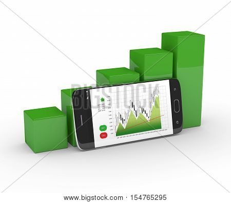 3D Rendering Of Chart Growth With Mobile Phone Over White
